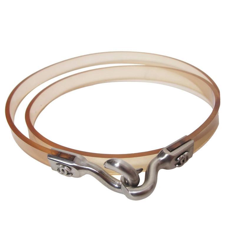 Chanel Clear Skinny Jelly Waist Belt with CC 1