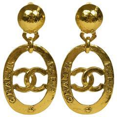 Chanel Vintage Gold Large CC Chanel Paris Doorknocker Round Hoop Earrings in Box