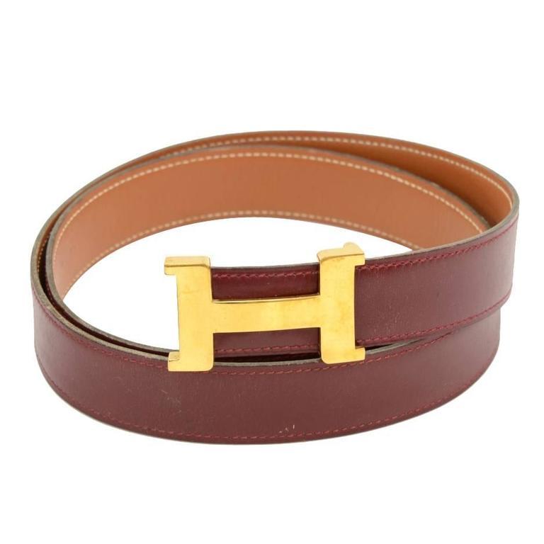 hermes burgundy x brown leather x gold tone h buckle belt