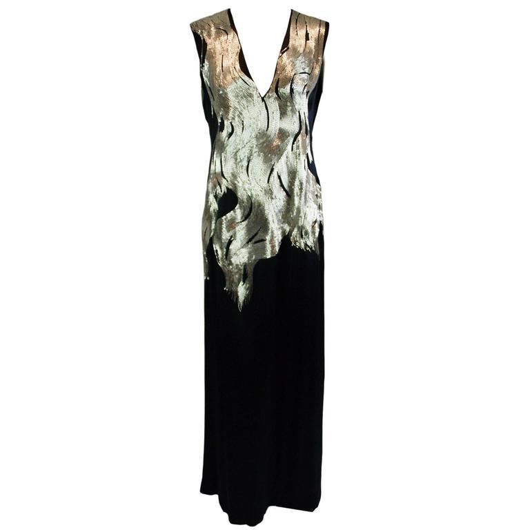 A/W 2007 Runway Alexander McQueen Flame Beaded Black Silk Gown Dress 38