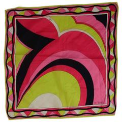 Emilio Pucci Green, Pink and Black Scarf