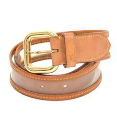 Louis Vuitton Clear Vinyl x Brown Cowhide Leather Belt Size 80