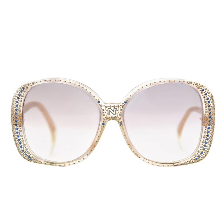 8a38aca5a063 1980s Nina Ricci Clear Prescription Sunglasses with Rhinestones For Sale