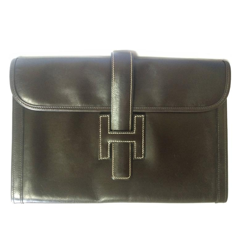 vintage HERMES jige PM, document case, dark brown portfolio purse in box calf 1