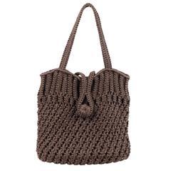 DAVID & SCOTTI Brown Crochet TOTE Shoulder Bag SHOPPING BAG