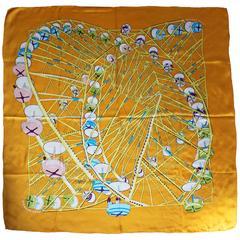 "1980s Hermes ""Grande Roue"" Modern Print Silk Scarf"