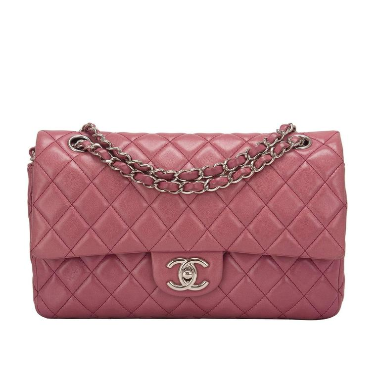 Chanel Rose Fonce Lambskin Medium Classic Double Flap Bag For Sale