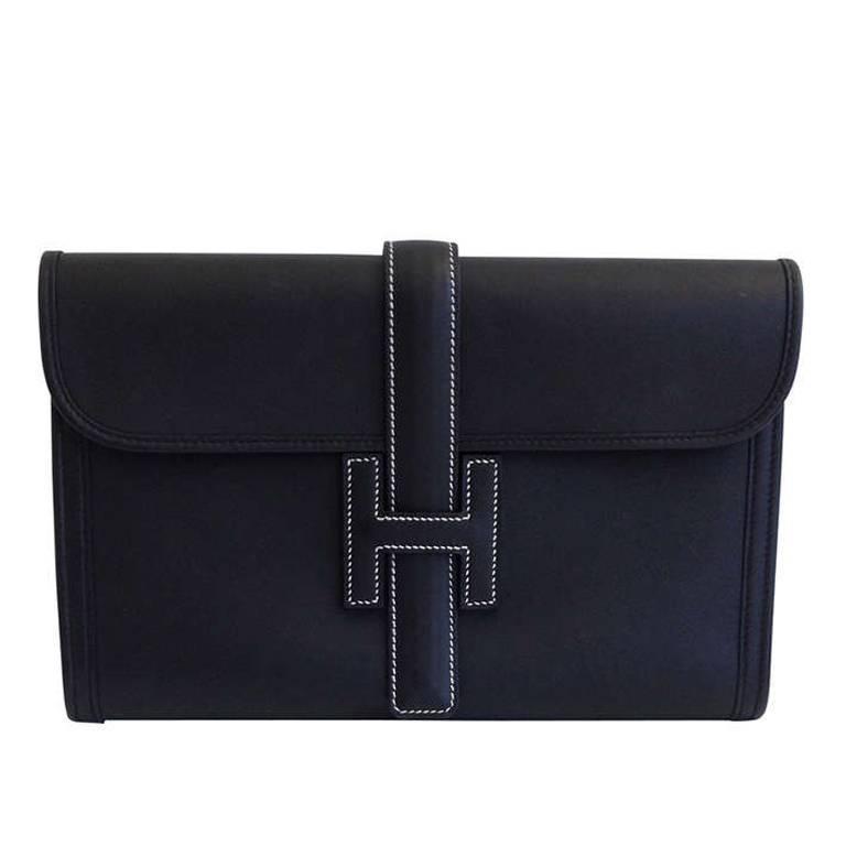 Hermes Black Leather Clutch