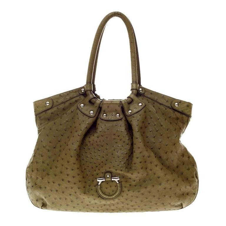 9bcc88bbec Salvatore Ferragamo Large Ostrich Skin Tote Shoulder Bag For Sale at 1stdibs