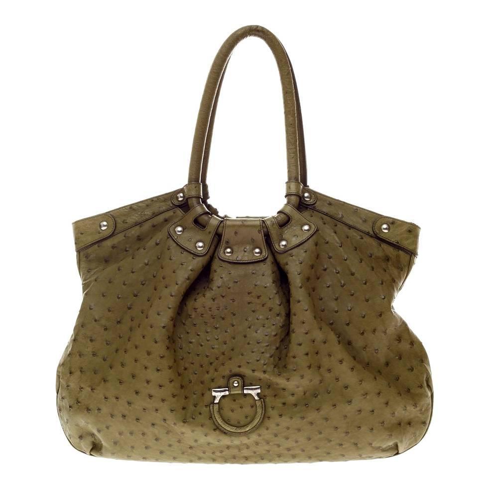fdd06c858ecd Salvatore Ferragamo Large Ostrich Skin Tote Shoulder Bag For Sale at 1stdibs