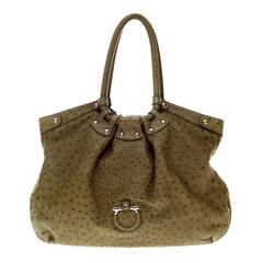 Salvatore Ferragamo Large Ostrich Skin Tote Shoulder Bag
