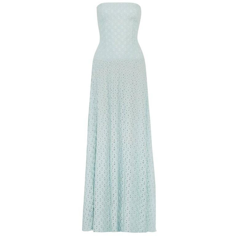Missoni Babyblue Crochet Knit Corset Evening Gown
