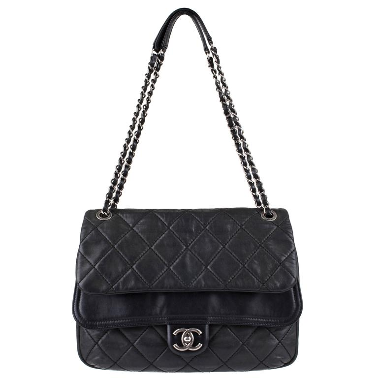 "New CHANEL Black Lagerfeld Calfskin ""IN THE MIX"" Jumbo Double Flap Bag S/S 2012 1"
