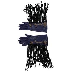 Vintage Claude Montana attr. Studded Fringe Leather Gloves