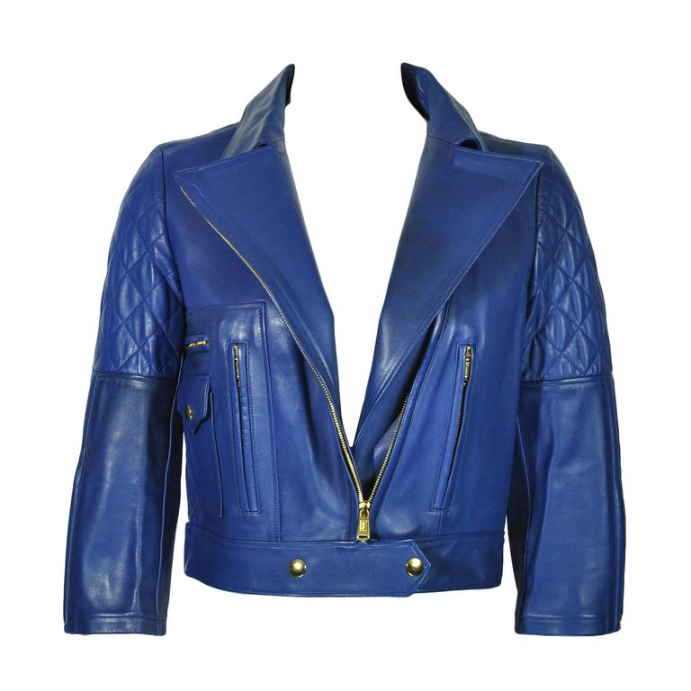 Yves Saint Laurent Blue Quilted Leather Biker Jacket FR36 New 1
