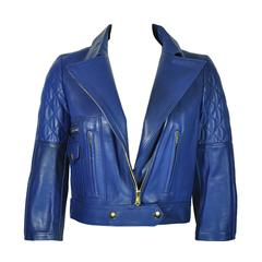 Yves Saint Laurent Blue Quilted Leather Biker Jacket FR36 New
