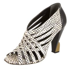 Balenciaga NEW & SOLD OUT Futuristic White Black Snakeskin Resin Heels in Box