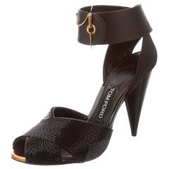 Tom Ford NEW & SOLD OUT Black Leather Bead Gold Pin Closure Sandals Heels in Box