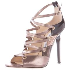 Jimmy Choo NEW & SOLD OUT Metallic Leather Cut Out Lace Up Heels in Box