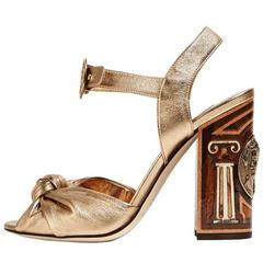 Dolce & Gabbana NEW & SOLD OUT Gold Leather Carved Wood Heels Sandals in Box