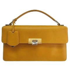 Balenciaga Yellow Leather Kelly Style Top Handle Satchel Flap Bag