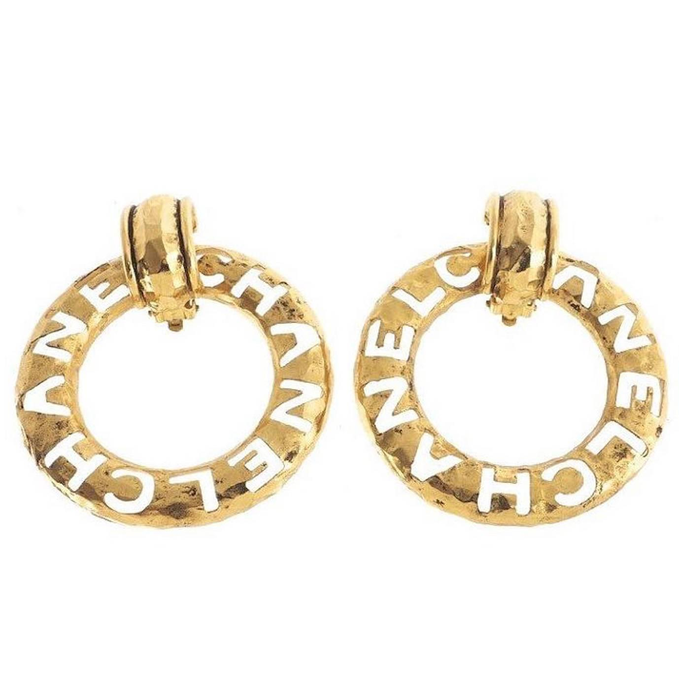 Chanel Vintage Oversize Large Inscribed Logo 2 In 1 Hoop Earrings
