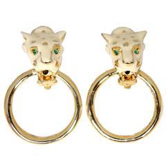 Vintage Leopard Clear And Green Crystal Door Knocker Earrings