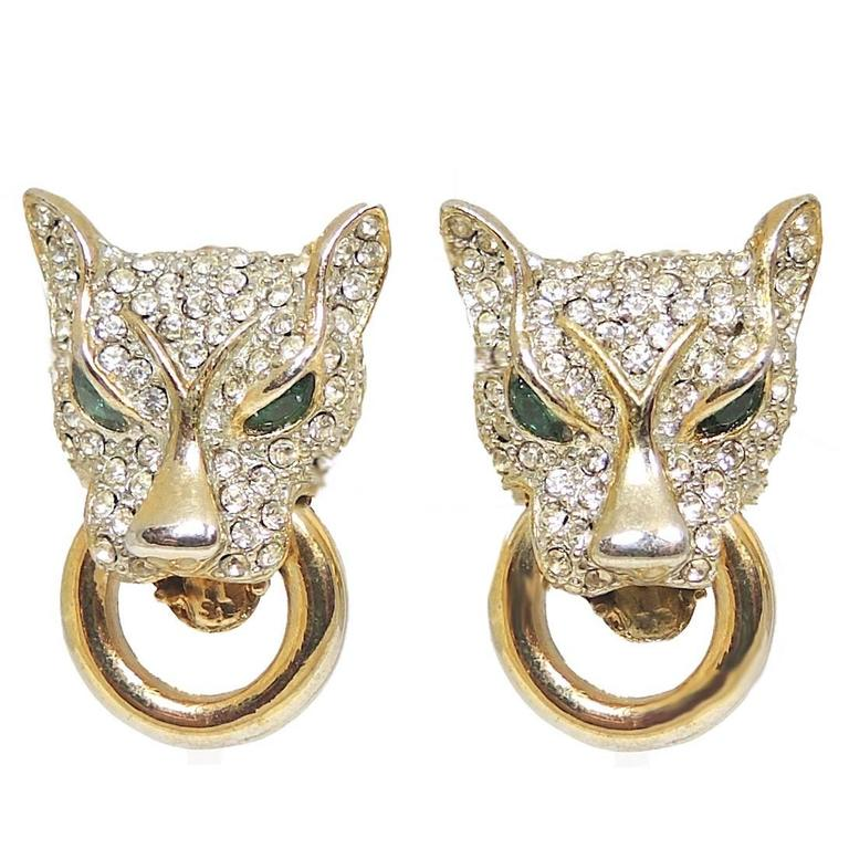 Vintage Panther Crystal Door Knocker Earrings For