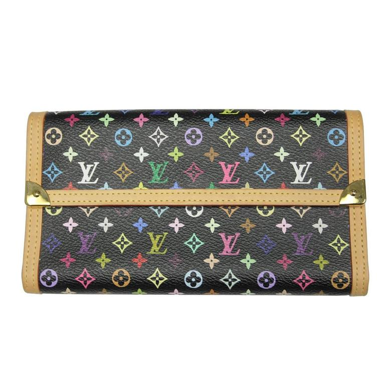 c0c3f66d3ea7 Louis Vuitton Porte Tresor Murakami Black Multicolor Wallet in Box For Sale