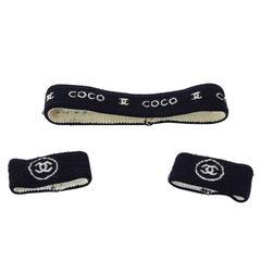 Chanel Navy and White Sweatband Set
