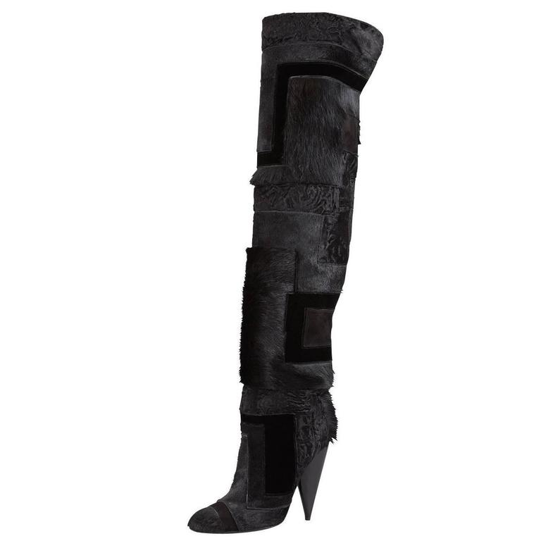 TOM FORD Geometric Black Patchwork Fur Over-the-Knee Boots  For Sale