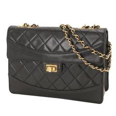 Chanel 2.55 Black Lambskin Quilted Gold Chain Flap Shoulder Bag