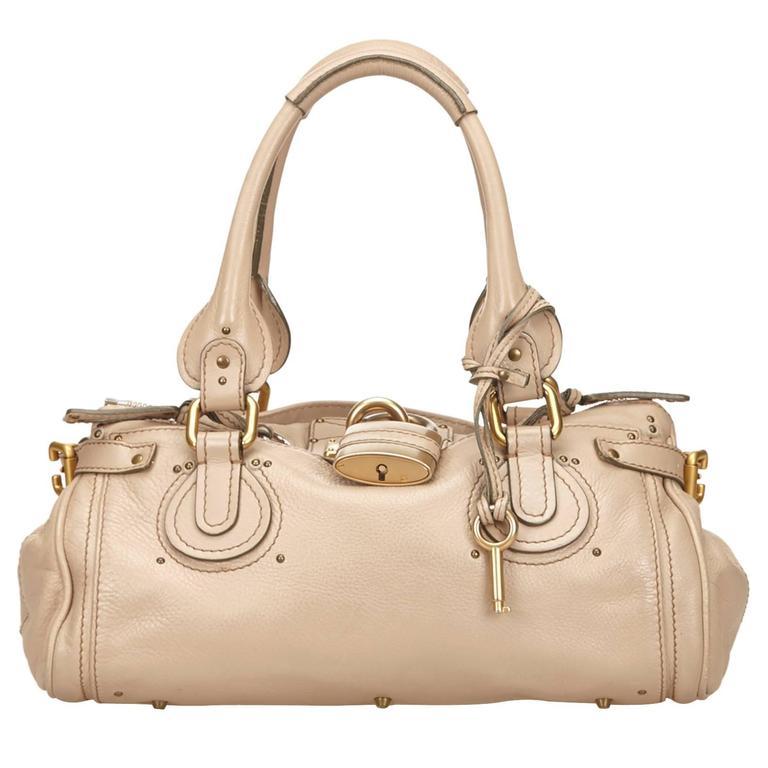 Chloe Beige Leather Paddington Shoulder Bag  For Sale