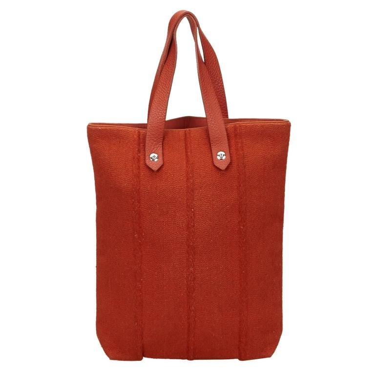 Hermes Red Wool Ahmedabad PM Tote For Sale