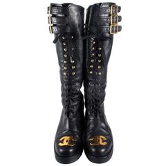 Chanel Boots 8/38 Tall Combat Vintage Black Leather CC Gold Lace Up Knee High