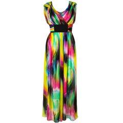 DOLCE & GABBANA Pre-Fall 2008 Multicolor Tie Dye Silk Long Dress Gown Sz 38