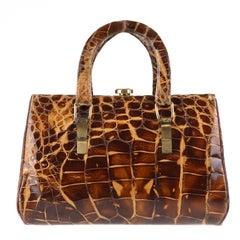 VTG HERMES 1930s Genuine Alligator Crocodile Croc Handbag Purse - Rare