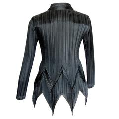 Issey Miyake Black Pleated Jacket with Pointed Tails Architectural Sz 3