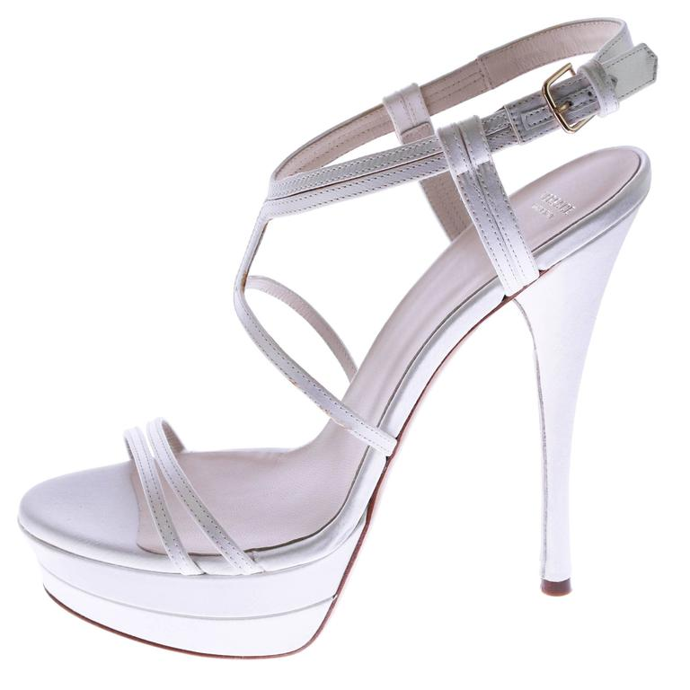 VERSACE white silk double platform sandals as seen on Jennifer and Irina For Sale