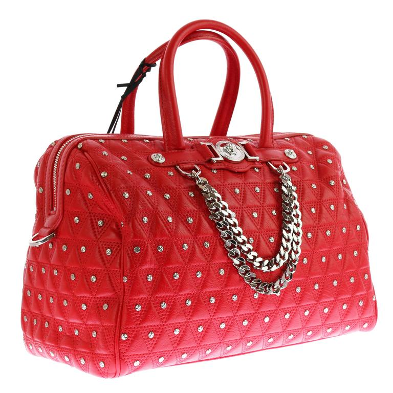 "VERSACE ""Signature"" Studded Red Leather Duffle Bag 1"