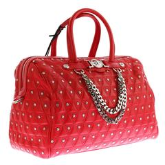 "VERSACE ""Signature"" Studded Red Leather Duffle Bag"