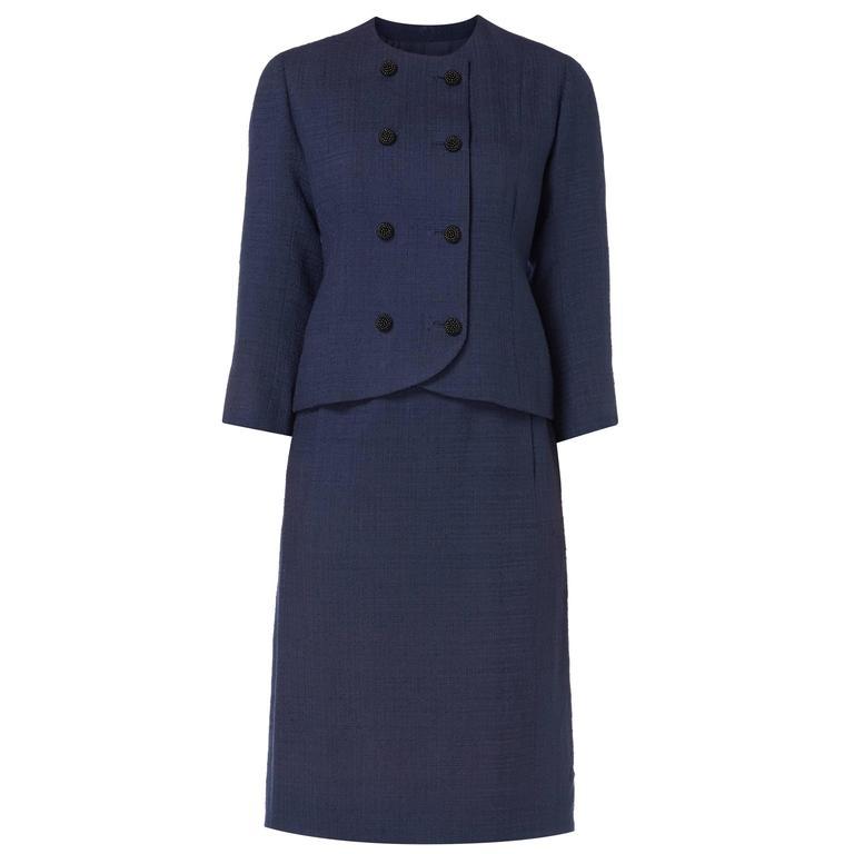 Balenciaga haute couture navy skirt suit, circa 1963 For Sale