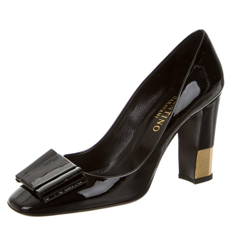 Valentino NEW and SOLD OUT Black Patent Leather Gold Heel Pumps in ...