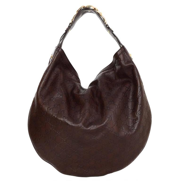 Gucci Brown Embossed Guccissima Leather Hobo Bag