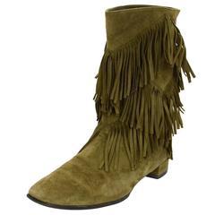 Roger Vivier Olive Green Suede Prismick Fringe Boots Sz 36.5