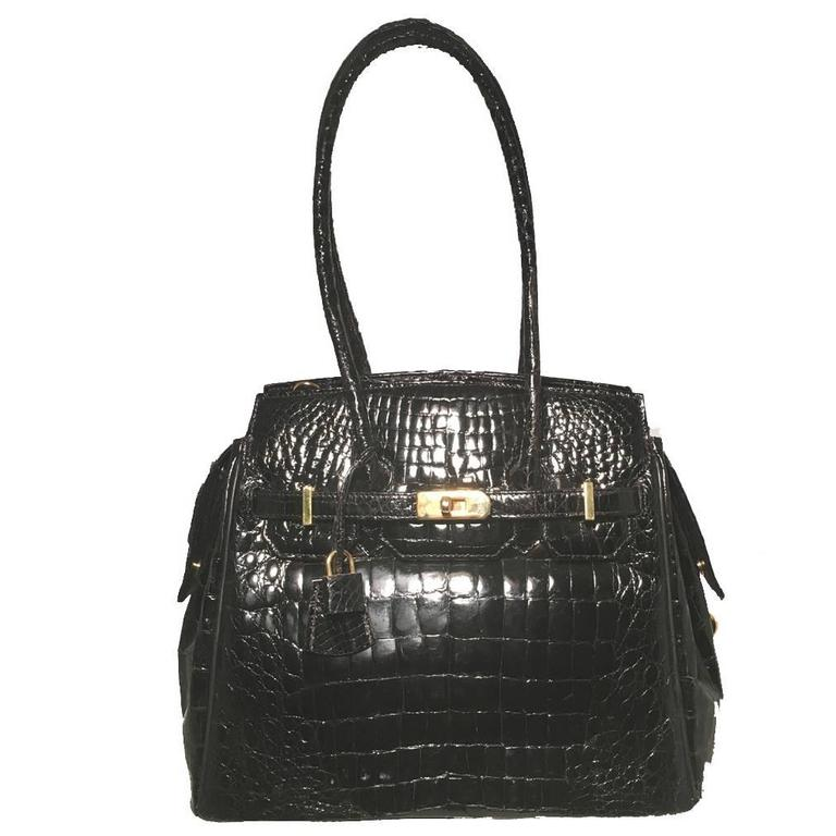 Eileen Kramer Black Alligator Birkin Bag For