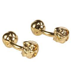 Alexander McQueen NEW & SOLD OUT Gold Crystal Skull Head Men's Cufflinks in Box