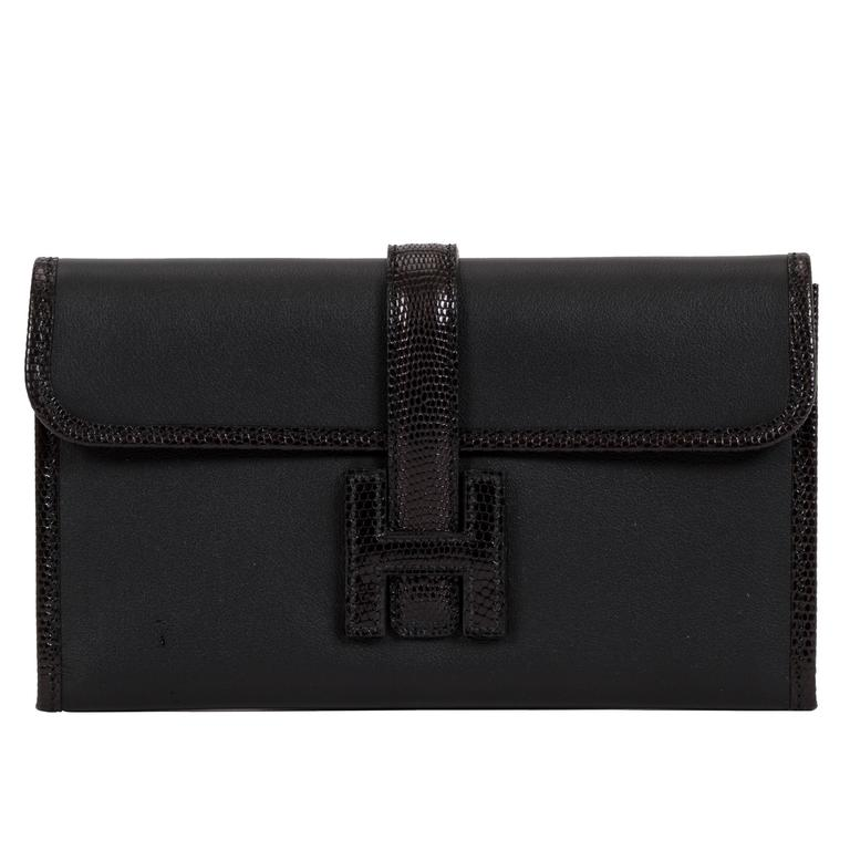 Hermès Black Lizard & Swift Jige Clutch Bag