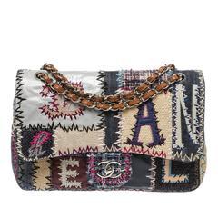Chanel Blue Multicolor LTD Patchwork Jumbo Flap Shoulder Handbag