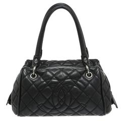 Chanel Navy Quilted Caviar Double Handle Shoulder Bag
